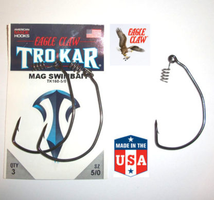 Eagle Claw TROKAR Weedless Hooks - 3/0 to 7/0 - TK160 Magnum Swimbait EWG
